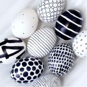 Black & White Easter Eggs with Designs