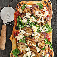 Spice-Grilled Eggplant, Feta & Spinach Pizza